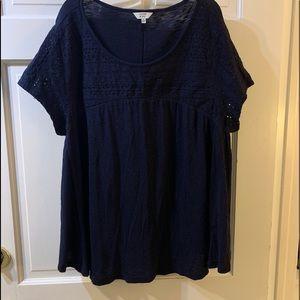 Crown & Ivy, navy short sleeves cotton shirt XL